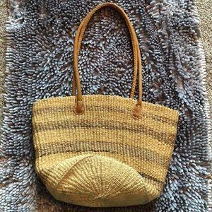 Straw Tote Striped Handbag Purse